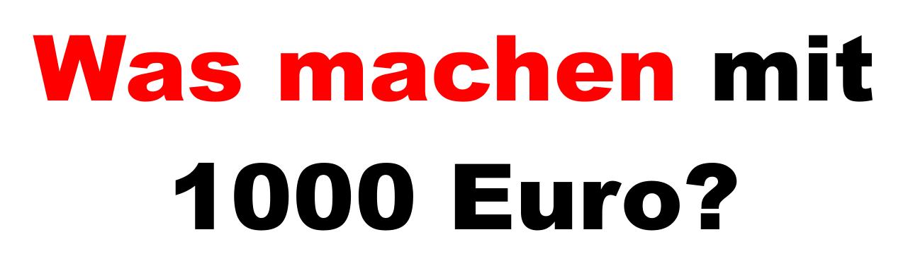 Was machen mit 1000 Euro