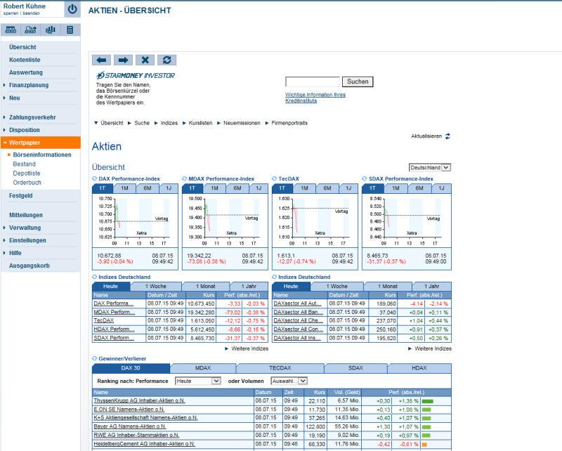 StarMoney Aktien Übersicht